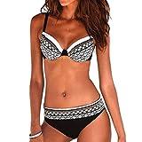 Riou Sexy Bikini Damen Set Push Up High Waist Zweiteilige Bikinis Oberteil Frau Sommer Sportlich Kleine Brüste Cups Grosse Grössen Bademode Tankinis mit Bügel für Beach Monokini (White, XL)