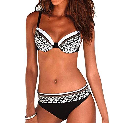 Riou Sexy Bikini Damen Set Push Up High Waist Zweiteilige Bikinis Oberteil Frau Sommer Sportlich Kleine Brüste Cups Grosse Grössen Bademode Tankinis mit Bügel für Beach Monokini (White, 2XL) White Hot Cup