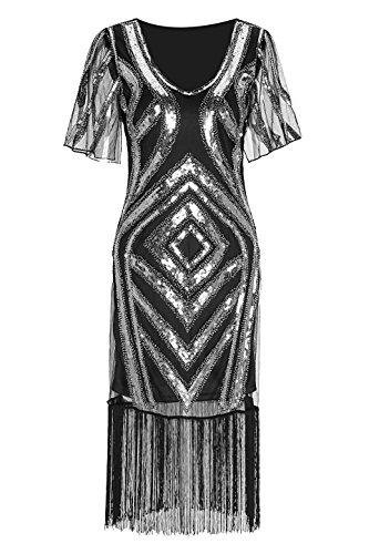 ahre Retro offene Gabel Ärmel Pailletten Perlen Gatsby Flapper Kleid für Prom Party (1920er-jahre-prom-design)