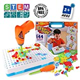 SYOSIN Design and Drill Play Set Creative Educational Construction Building Toys Tool Kit Workshop DIY 3D Drill Blocks Puzzles for Kids