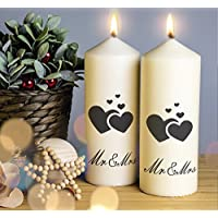 Wedding Day Candle Mr & Mrs Wedding Candle.Pillar Candle. 2 Sizes available Handmade and Handprinted. 1 Candle included. Image shows front and back of candle.Ideal wedding gift