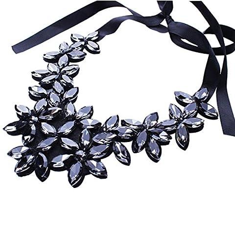 Saingace Blumen-Band-Ketten-Kurzschluss-Halsketten-hängende Kristallchoker-Chunky Kragen (Schwarz)