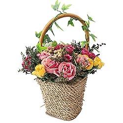 rerxn flores artificiales en cesta arreglo casa de rosa de seda fiesta boda decoración