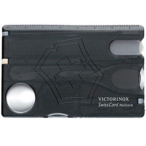 Victorinox Taschenmesser Swiss Card (Nailcare, 13 Funktionen, Nagelfeile, Schere) schwarz transparent