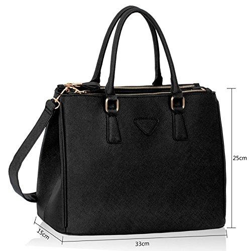 Trend Star Women New Designer handbags shoulder bags leatherette celebrity style fashion Large Tote Schwarz