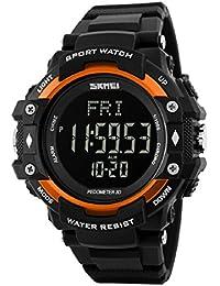 Hombres deportes pulsómetro podómetro contador de calorías reloj de pulsera resistente al agua, color naranja