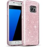Coque Samsung Galaxy S7 Edge, Sunnycase® Bling Bling Gliter Sparkle TPU Silicone Etui Housse Ultra Mince Back Cover Soft Portable Shell Transparent Fit pour Samsung Galaxy S7 Edge 2016 – Rose Pink