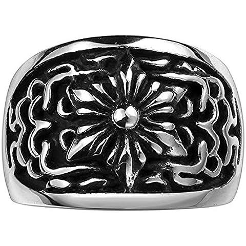 HFJ&YIE&H Generoso onda fiore anello classico nessun uomo decorativi di pietra in acciaio inossidabile (nero) (1pc)