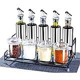 Fgx Ensemble de 9 Pots à Condiments à épices en Verre et Fer en céramique de Forme spéciale, Contenant à épices, Contenant à assaisonnement avec cuillères de Service et Support en Bambou