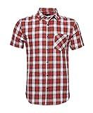 Nutexrol Kurzarmhemd Classic Karohemd Slim Fit mehrfabrig Flannel Kariert Hemd Freizeithemd Rot&weiß XL