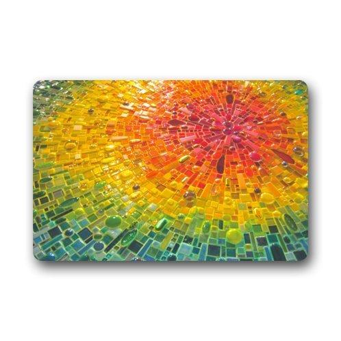 Jiayou J Colorful Nebula Like Water Drop Mosaic 23.6 X 15.7 Inch Home Fashion Rectangle non-woven fabric Custom Doormat Machine-washable Non-Slip Rug