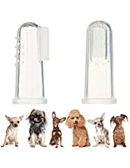 UEETEK 4pcs perro dedo cepillo de dientes silicona higiene Dental cepillos de dedo para Midium pequeños grandes perros gatos y mascotas más
