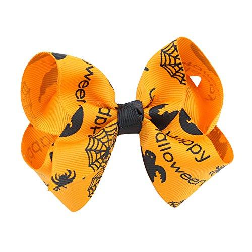 SEWORLD Baby Halloween Kleidung,Niedlich Baby Mädchen Kleinkind Kind Kinder Bowknot Halloween Haarnadel Haarspange Zubehör(B-orange,6 Monate-3 Jahren)