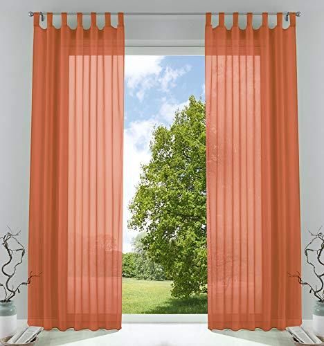 2er-Pack Gardinen Transparent Vorhang Set Wohnzimmer Voile Schlaufenschal mit Bleibandabschluß HxB 245x140 cm Terrakotta, 61000CN