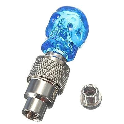 Schaedel Ventilkappen / Rad-Lampen - SODIAL(R)LED Licht Ventilkappe Speichenlicht fuer Fahrrad Auto Bike Felgen Reifen Blau