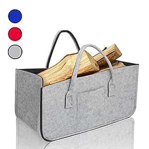 amazy filz kaminholztasche praktischer aufbewahrungskorb f r kaminholz zeitungen oder. Black Bedroom Furniture Sets. Home Design Ideas