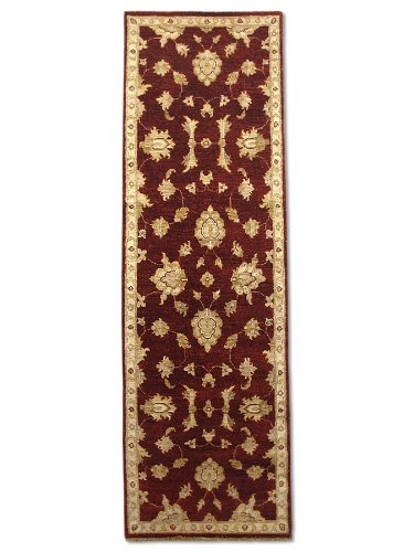 Tradizionale stile persiano Chobi Handmade Hallway runner, lana, rosso scuro,
