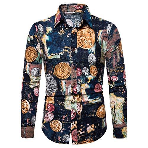 Xmiral Shirt Hemd Herren Langärmlig Stehkragen Gedruckte Nationaler Stil Tops T-Shirt Retro Baumwollmischung Hemde Lose Geschäft Bluse Slim Fit(Gelb,3XL)