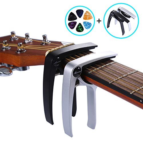 Asmuse™ 2 stück Kapodaster für e Gitarre Westerngitarre Akustische Elektrische Klassische Folk Ukelele Bass Instrument guitar Capo Licht Schnellwechsel Aluminiumlegierung Einzelne Hand Capodaster