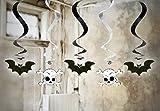 Feste Feiern Halloween Deko I 5 Teile Deckenhänger Totenkopf Fledermaus Metallic Happy Horror Grusel Party