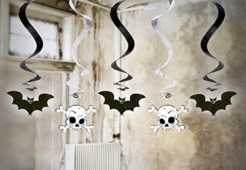 FesteFeiern Halloween Swirl Spiralen Dekoration | 5 Teile Totenkopf+Fledermaus metallic | Happy Halloween Party Deko (Spinnen Geister & Dekorationen Swirl)