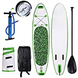 Profun Tavola da Surf Paddle Gonfiabile 3M SUP Stand Up Paddle Board 15 PSI con Paddle Regolabile+Air Pump+Rowing+Backpack (Type 2 Verde)