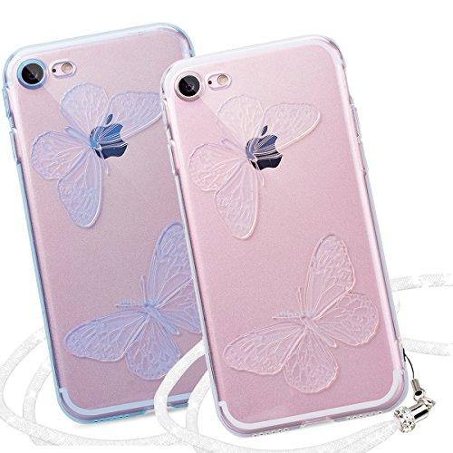 Yokata 2 x iPhone 7 Hülle Transparent Weich Silikon Gel Crystal Clear TPU Case Handyhülle Schutzhülle Etui Durchsichtig Ultra Slim Backcover Silicone Bumper Protective Cover für iPhone 7 (4,7 Zoll) Sc Blau + Transparent