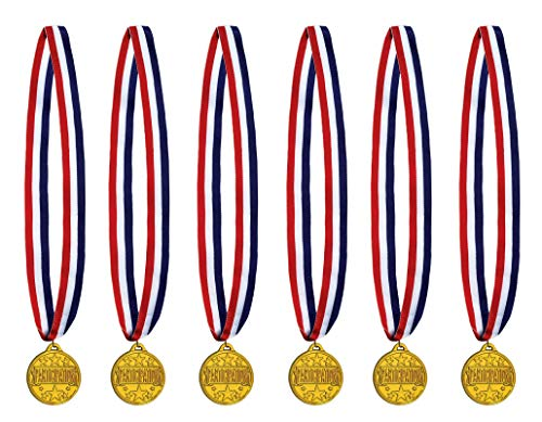 Beistle 53549 Teilnahmemedaille mit Band, 6-teilig, 76,2 cm, rot/weiß/blau/gold