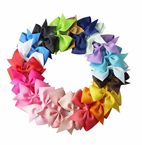 Rzctukltd 20PCS Colors Handmade Bow Hair Clip Alligator Clips Girls Ribbon Kids Sides Accessories
