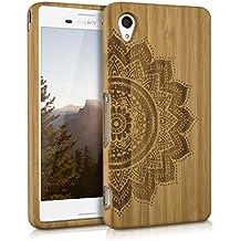 kwmobile Funda para Sony Xperia M4 Aqua - Case protectora de madera bambú - Carcasa dura Diseño flor mitad en marrón claro