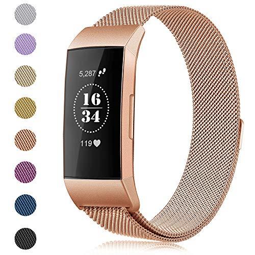 Gogoings Para Fitbit Charge 3 Correa - Pulsera de Reemplazo Ajustable Acero Inoxidable Banda Compatible con Fitbit Charge3 para Mujeres y Hombres (Sin Reloj) (Oro Rosa, S)