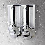 Seifenspender Wandbefestigung Surenhap Manuelle Wandseifenspender für Shampoo Duschgel Reinigungsmittel, verwenden in Hotel Badezimmer WC Dusche-Zimmer (2 Stück Silber)
