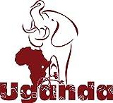 GRAZDesign 630224_57_030 Wandtattoo Uganda Elefant Afrika Kontinent Welt | Wand-Aufkleber als Deko im Wohnzimmer/Büro (62x57cm//030 dunkelrot)