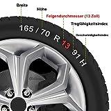 CM DESIGN 13 Zoll NASCAR RED (Rot/Schwarz), passend für Fast alle FIAT z.B. für FIAT Grande Punto EVO Typ 199 Test