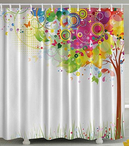 BBFhome Rideaux de douche Rideau 120 X 180 CM Couleur Éclatement Tree of Life Colorful Pastoral Creative Design Art moderne Art Imprimer Décor Salle de bains Couleurs Décoration Abstrait Illustration Vecteur Tissu Vert Jaune Rose Violet