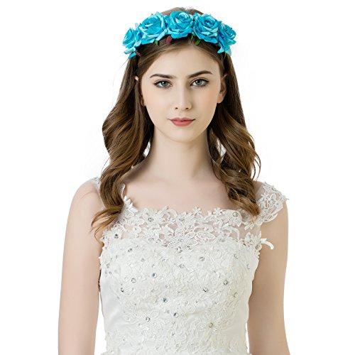 AWAYTR Mädchen Braut Blumenkrone Stirnband Haarband Blumen Girlande Kopfstück zum Hochzeit Parteien (Blau)