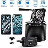 NEKAN Endoscopio HD 2.0 Megapixel WiFi Telecamera 500CM Lunghezza Focale di Ispezione Wireless Boroscopio con 8 LED Impermeabile 5m Semi-Rigido Cavo per Android e iOS, Tablet