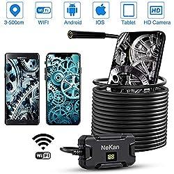 NEKAN Endoskopkamera HD 500CM Brennweite WiFi Endoskop 2,0 Megapixel 8 LEDs Wasserdicht Inspektionskamera Unterstützung für iOS Android Smartphone Tablette 5M Halbstarres Kabel