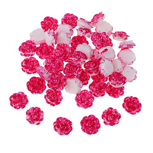 Homyl Verzierung 14mm Mini Harz Blumen Flatback Harz Tasten Harz Flatback Craft Blumen Karten Craft Scrapbooking - Rose rot und weiß