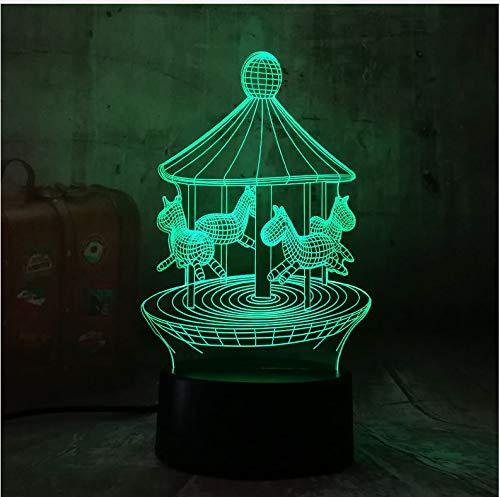 Nouveau Romantique Manège 3D Led 7 Changement De Couleur Lampe De Table Nuit Lumière Décor Nouveauté Lustre Vacances Petite Amie Cadeau