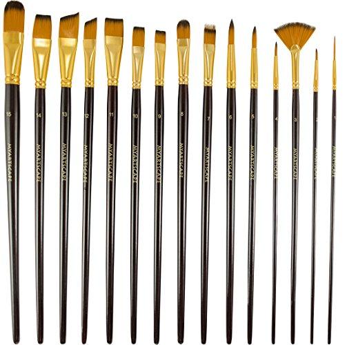 Pinceles -juego de 15pinceles para pintura con acuarelas, acrílicos y pintura al óleo ...