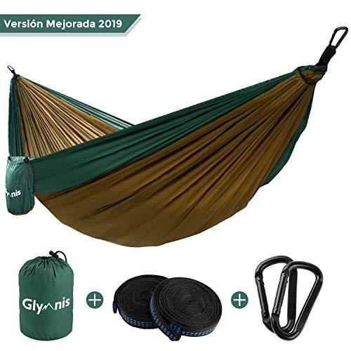 Glymnis Hamaca para Camping y Viaje de Nylon 300kg de Capacidad de Carga 275x140cm Kit de Hamaca Ultraligera de Tela 210T