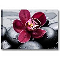 Fiore pietre nere 3 - Quadro moderno su tela intelaiato 70x50 cm quadri moderni arredamento casa salotto ufficio spa centro estetico benessere hotel black stone fiori orchidea orchid rossa relax fiori centro estetico wellness estetista salone bellezza massaggio yoga meditazione natura acqua candela sassi stampe canvas interior wall art forniture design decoration