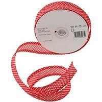 Inastri - Cinta bies de algodón, 25/ 5/ 5 mm, color rojo con lunares blancos 267