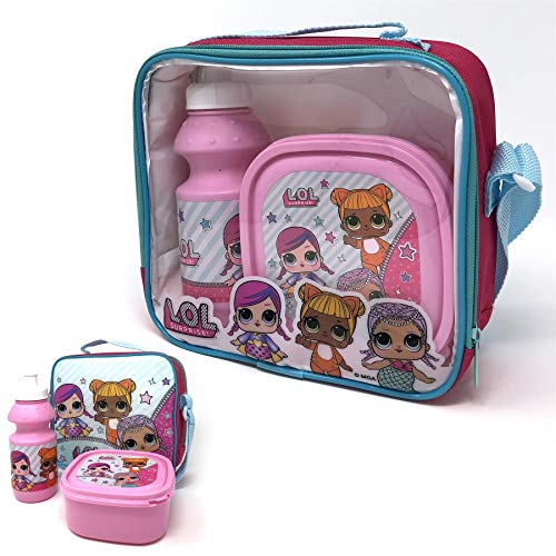 MGA L.O.L SURPRISE! Kids 3 Pcs Lunch Set - Girls Insulated Lunch Bag with Strap, Lunch Box & Bottle Set For School Picnic Travel Snacks
