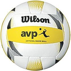 Wilson WTH6007XB Pelota de Voleibol De Playa AVP II Official Mezcla de Cuero sintético y Microfibra, Unisex-Adult, Blanco/Amarillo, Tamaño Oficial
