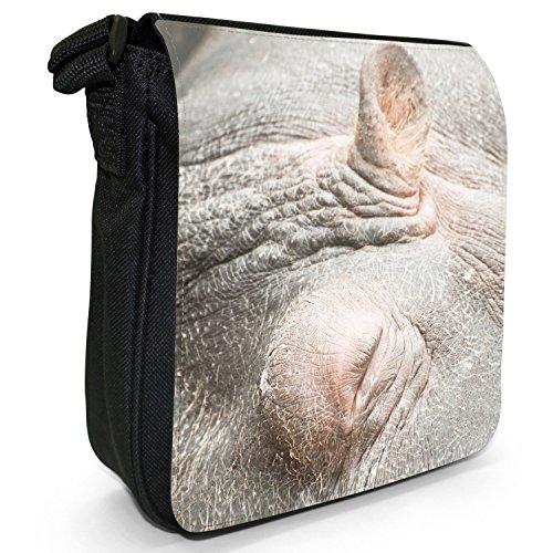 Ippopotamo ippopotamo-Borsa a tracolla in tela, piccola, colore: nero, taglia: S Nero (Hippo Sleeping Close Up)