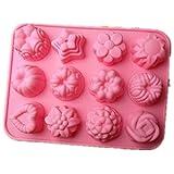Fendi schöne süße Multi-Funktions-12 Blume Silikonform Eis Kuchen Seife Backform Küche (12 Blume)