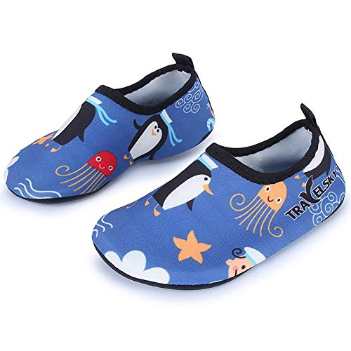L-RUN Kinder Schwimmen Wasser Schuhe Barefoot Aqua Socken, Gr.-7-7.5 UK  / EU 24-25,Blau