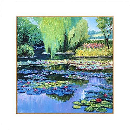 Gbwzz Seerosenteich-Landschaftsölgemälde Impressionistische Landschaftsreines handgemaltes Ölgemälde Einfaches Retro Portal dekorative Malerei, 30 × 40cm